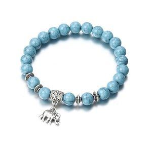 Jewelry - 5 for $25 Blue Color Bead Elephant Charm Bracelet